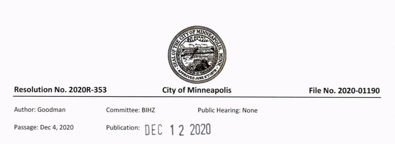 City of Minneapolis Resolution Screenshot